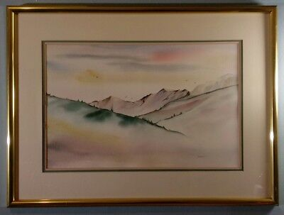 "Deirdre Heller Original Landscape Watercolor On Arches Paper Framed Sz 30""x 23"""