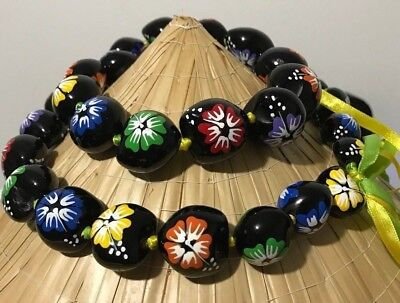 Hawaiian Kukui Nut Lei Hawaii Hibiscus Flower Necklace Graduation Buy 3 = 1 free