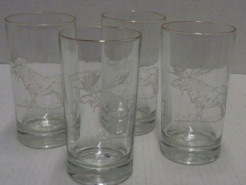 """Loyal Order of the Moose Membership Award 5"""" Glasses Gold Trim Set of 4 -s11a"""