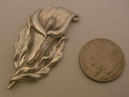"Vintage Sterling Silver ART NOUVEAU FLORAL Pin Brooch 2.3"" NICE DETAILS"