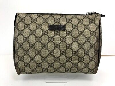Auth GUCCI GG Pouch Clutch Hand Bag Purse Brown PVC Leather 19000049694