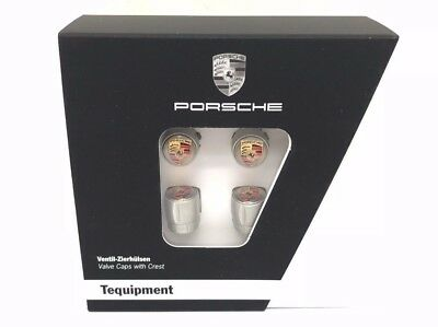 Set New Genuine Porsche Colour Silver Crested Valve Dust Caps TPMS 99104460269