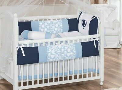 Balloon Sky Theme Navy Blue Baby Boy 7pc Nursery Crib Bedding Set -