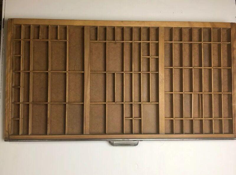 Vintage Type Set Wood Printers Drawer Tray Display Shadowbox