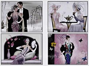 8 Art Deco Beauties  Toppers / Embellishments / Toppers Cards...A362