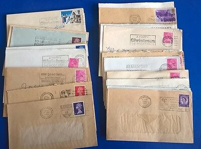 15 UK GB COVERS WITH SLOGAN POSTMARKS  with town marks begining with N 1960s-90s