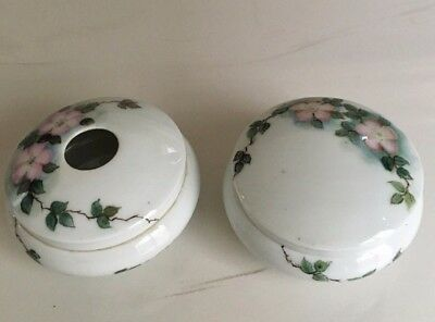 Antique Porcelain Powder Box Hair Receiver Hand Painted Pink Roses Bavaria