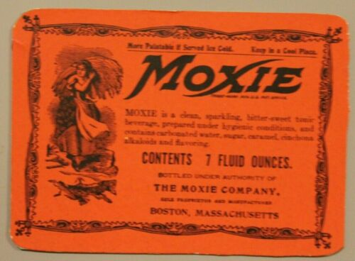 Moxie Magnet-  authentic old label = FREE SHIPPING