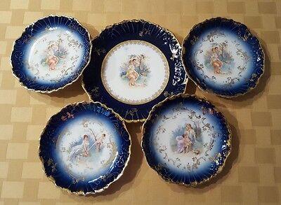 Antique Cobalt Blue and Gold-Gilded Portrait Plates