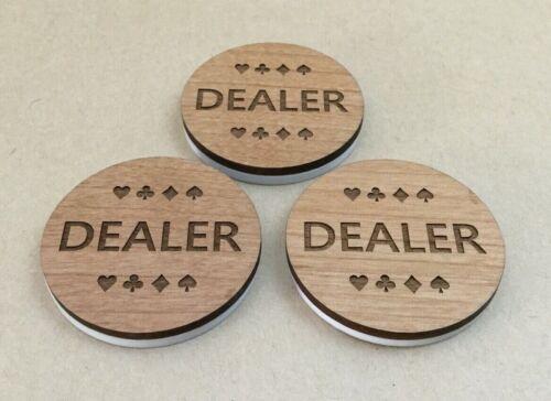 """Lot of 3 """" DEALER """" Button Poker Wood-Plastic Custom Poker Game"""
