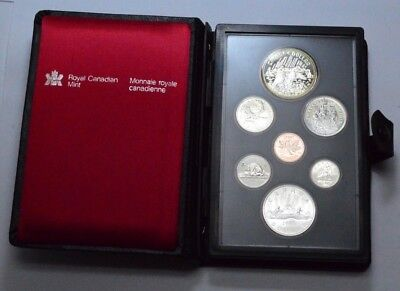 1980 CANADA PROOF LIKE 7 COIN  UNC SET IN HARD PLASTIC CASE Double Struck
