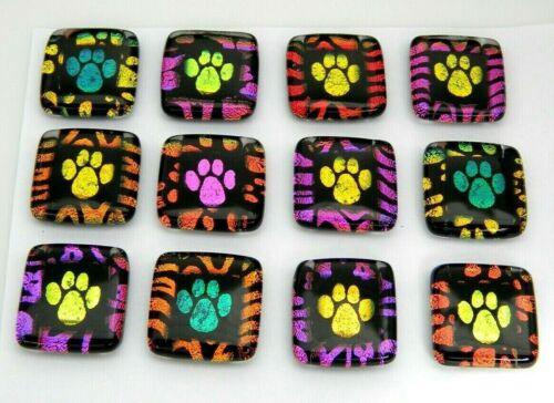 PAW PRINT 12 pcs colorful DICHROIC FUSED GLASS (A13) CAB pendant MOSAIC