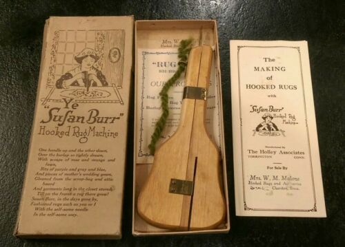"""Vintage """"Ye Susan Burr"""" Hooked Rug Machine in Original Box with Instructions USA"""