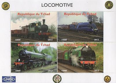 LOCOMOTIVE TRAIN RAILWAY TRAVEL REPUBLIQUE DU TCHAD 2013 MNH STAMP SHEETLET