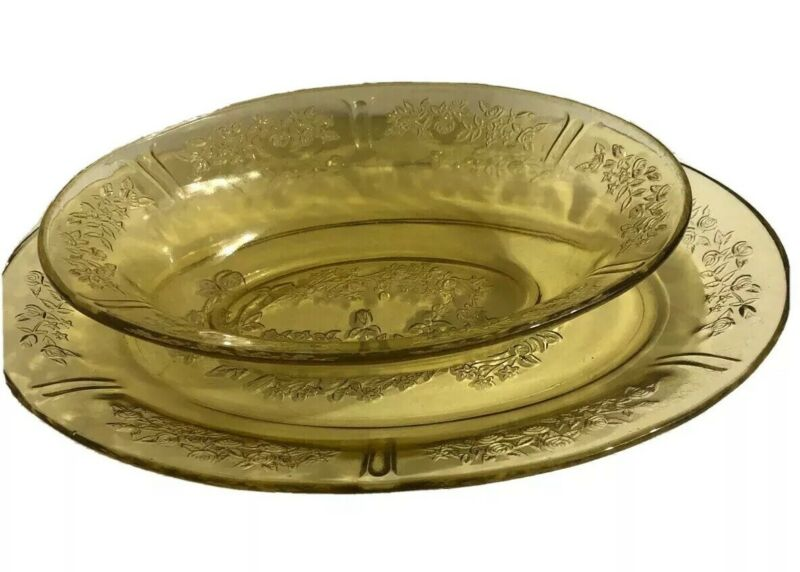 Vintage 1930s Yellow Depression Oval Bowl & Platter Sharon Federal Glass Amber