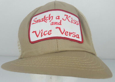 2e65237663a Vtg Snatch a Kiss and Vice Versa Novelty Adult Humor Gift Sewn Patch  Trucker Hat
