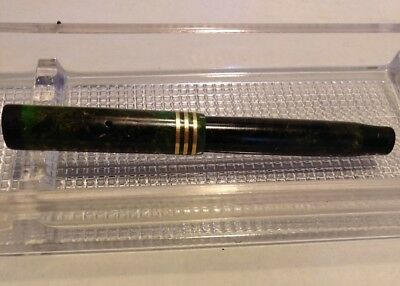 Parker 1930 Lady Duofold Lucky Curve Fountain Pen Jade Green 3 Band w/ Nib TLC N