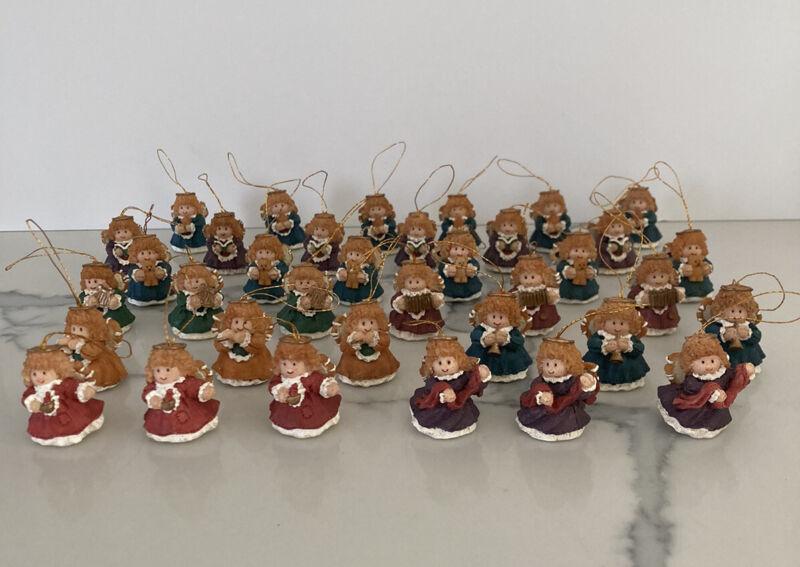 "36 Miniature Resin Ornaments Angels 1.25"" Various Designs Mini Christmas Tree"