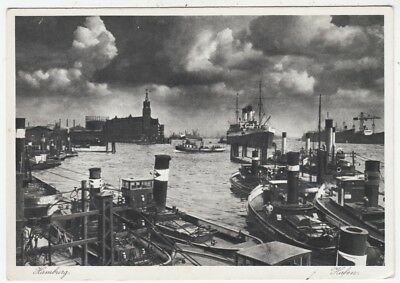 HAMBURG HARBOUR - Shipping - Germany - c1930s era postcard