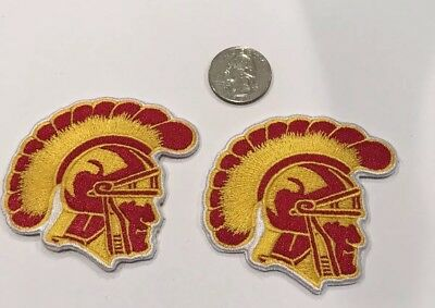 "(2)-USC Southern Cal Trojans Vintage Embroidered Iron On Patches 2.5"" x 2.5"""