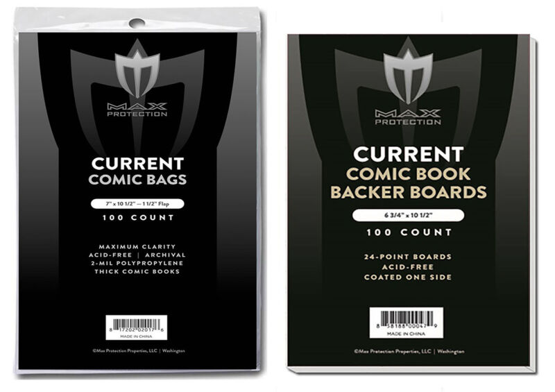100 THICK CURRENT MODERN COMIC BOOK ARCHIVAL 7X10-1/2 POLY BAGS AND BOARDS MAX