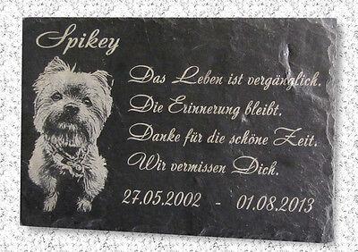 Ihr Tierfoto & Wunschtext in Schiefer Grabstein Gedenktafel Gedenkplatte 22x16cm