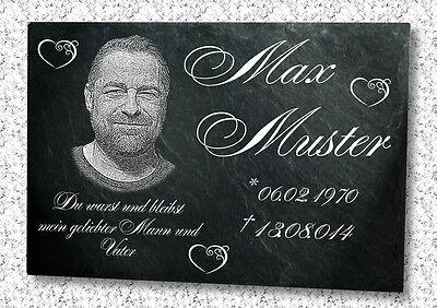 Grabstein Grabplatte Grabmal Wunsch Gravur Doppelstütze aus Granit 30x20x1 cm