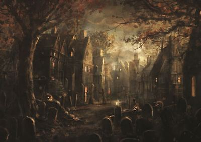 HALLOWEEN OLD TOWN FANTASY CITY A3 PRINT POSTER GZ675 (Old Town Halloween)