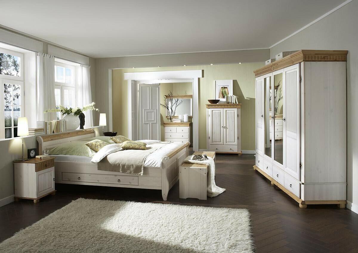 Schlafzimmer Kiefer massiv weiß 4 tlg. Landhausstil Helsinki Schrank Bett Nako 1