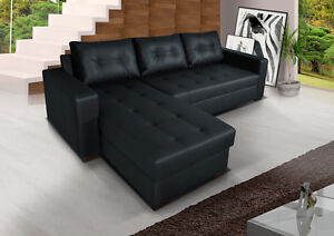Corner sofa bed with large bedding container, Black pu Leather, Top Grade