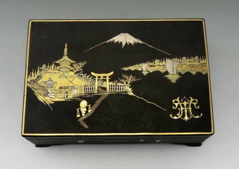 Antique Meiji Japanese Inlaid Mixed Metal Damascene Jewelry/Trinket Box