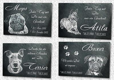 Tiergrab Grabstein Grabplatte Hund Ihr Individuelles Foto in Naturschiefer (iv)