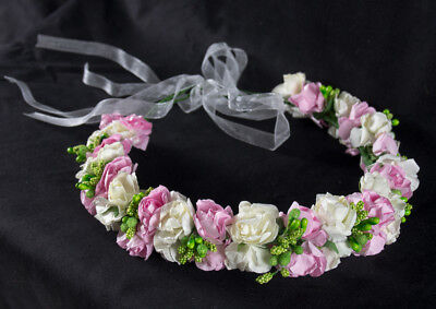Handmade Boho wedding Flower Headband Hair Wreath Halo Floral Garland Crown Head (Flower Halo Headband)