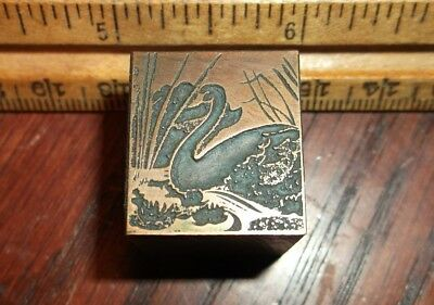 Vintage Graceful Swan Copper Faced Solid Lead Dingbat Cut Dingbats Letterpress