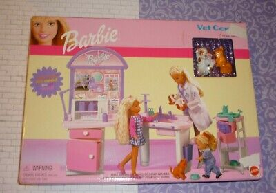MATTEL Barbie VET CENTER Hospital Playset 2001 Pets Cat Dog #67597 NEW VTG