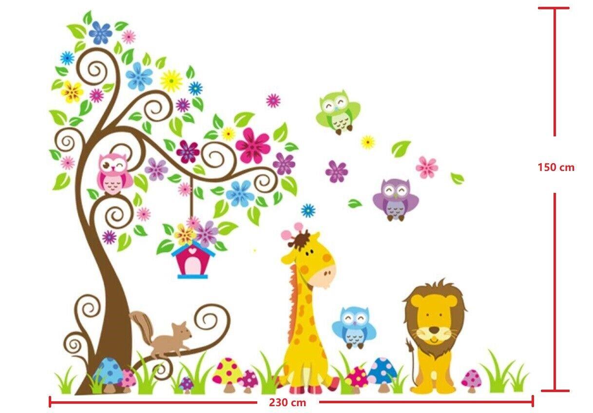 Wandtattoo Wandsticker für Baby-Kinderzimmer Deko Tiere Kinder Wald