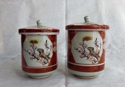 2 ANTIQUE CHINESE PORCELAIN FOOTED TEA CUPS WITH LIDS