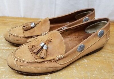 JONES NEW YORK SPORT WOMENS BRAZILIAN METAL DECOR  BROWN LOAFERS TASSEL SIZE 8M