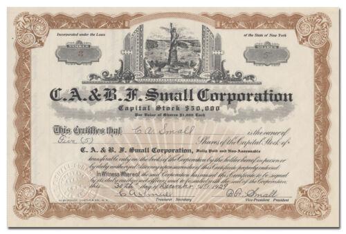 C. A. & B. F. Small Corporation Stock Certificate (Statue of Liberty Vignette)
