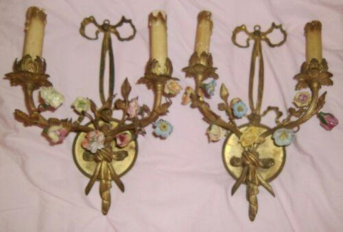 Pair Shabby Antique Vtg Porcelain Roses Flowers Ribbons Bows Gilt French Sconces
