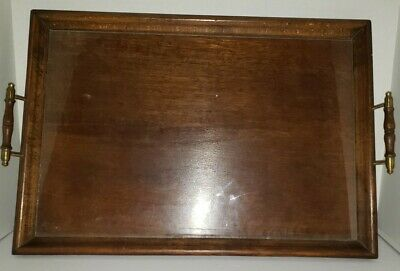 Vintage 21x14.5 Wooden Serving Tray Brass And Wood Handles Glass Inlay