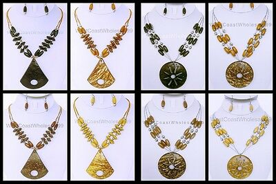 Coconut Shell Fashion Necklace & Earring Set - Costume Jewelry Wholesale - -