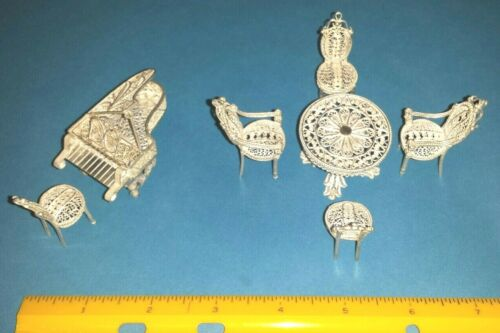 Vtg Sterling Silver Filigree Dollhouse Miniature Furniture ( 7 Piece Lot) EUC