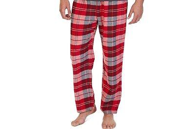 $48 Nautica Mens Pajama Pj Flannel Lounge Pants Red White Plaid Sleepwear Size L