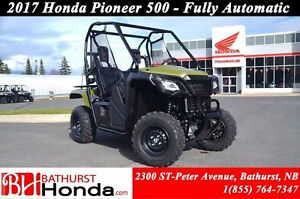2017 Honda Pioneer 500 2 seats Fully Automatic!!! Large, flat ca