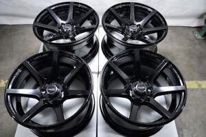 15x8 Wheels Miata Cooper Scion XB XA Honda Civic Accord Corolla Black Rims 4x100