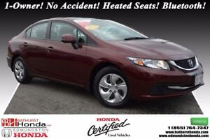 2013 Honda Civic Sedan LX 1-Owner! No Accident! Heated Seats! Bl