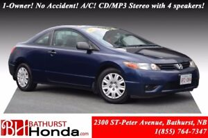 2007 Honda Civic Coupe DX-G 1-Owner! No Accident! A/C! CD/MP3 St