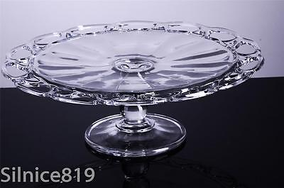 """Vintage EAPG Glass Cake Stand Plate Pedestal 12"""" open lace edge rim Imperial"""