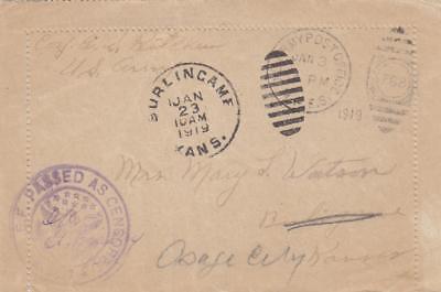 1919, APO 788, 160th Infantry, Censored Letter Sheet (M1519)